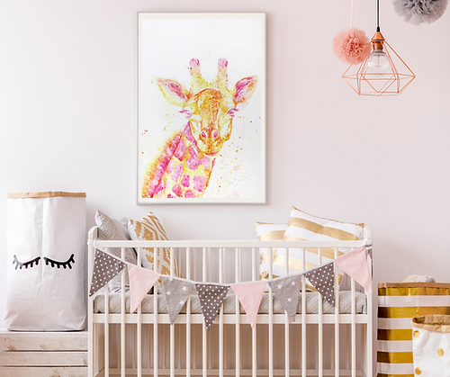 Watercolor painting of a giraffe in a beautifully staged nursery, infant nursery art, Indianapolis artist specializing in children's art