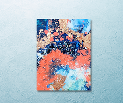 salmon, turquoise and navy small encaustic painting