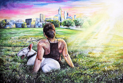 watercolor painting of a girl and her dog, watercolor family portrait by TayloredIllustration