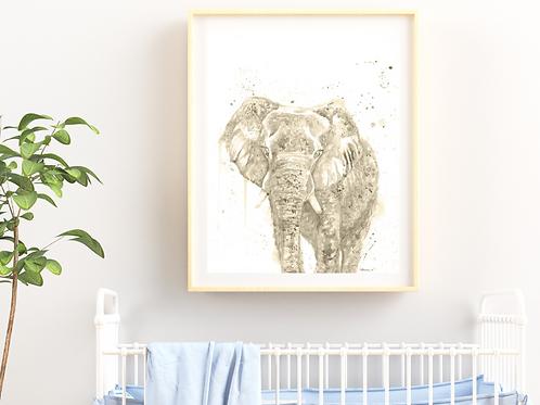 MULTICOLOR Watercolor Elephant - Giclée Print