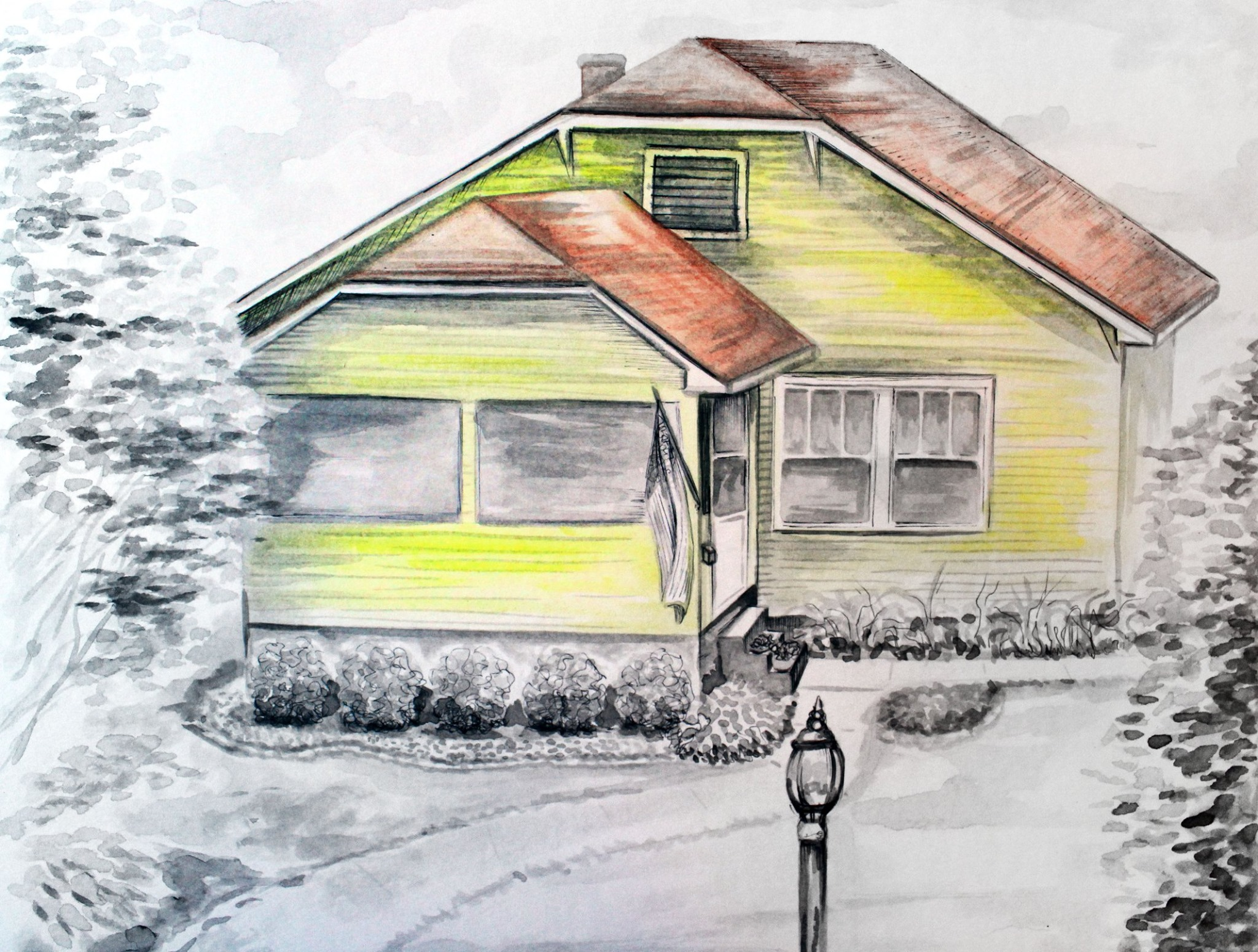 Custom First Home Watercolor Painting of Small Yellow House