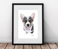 Beautifully framed custom pet portrait of a Corgi, Pet Portrait of my Corgi Dog, Special gift for an