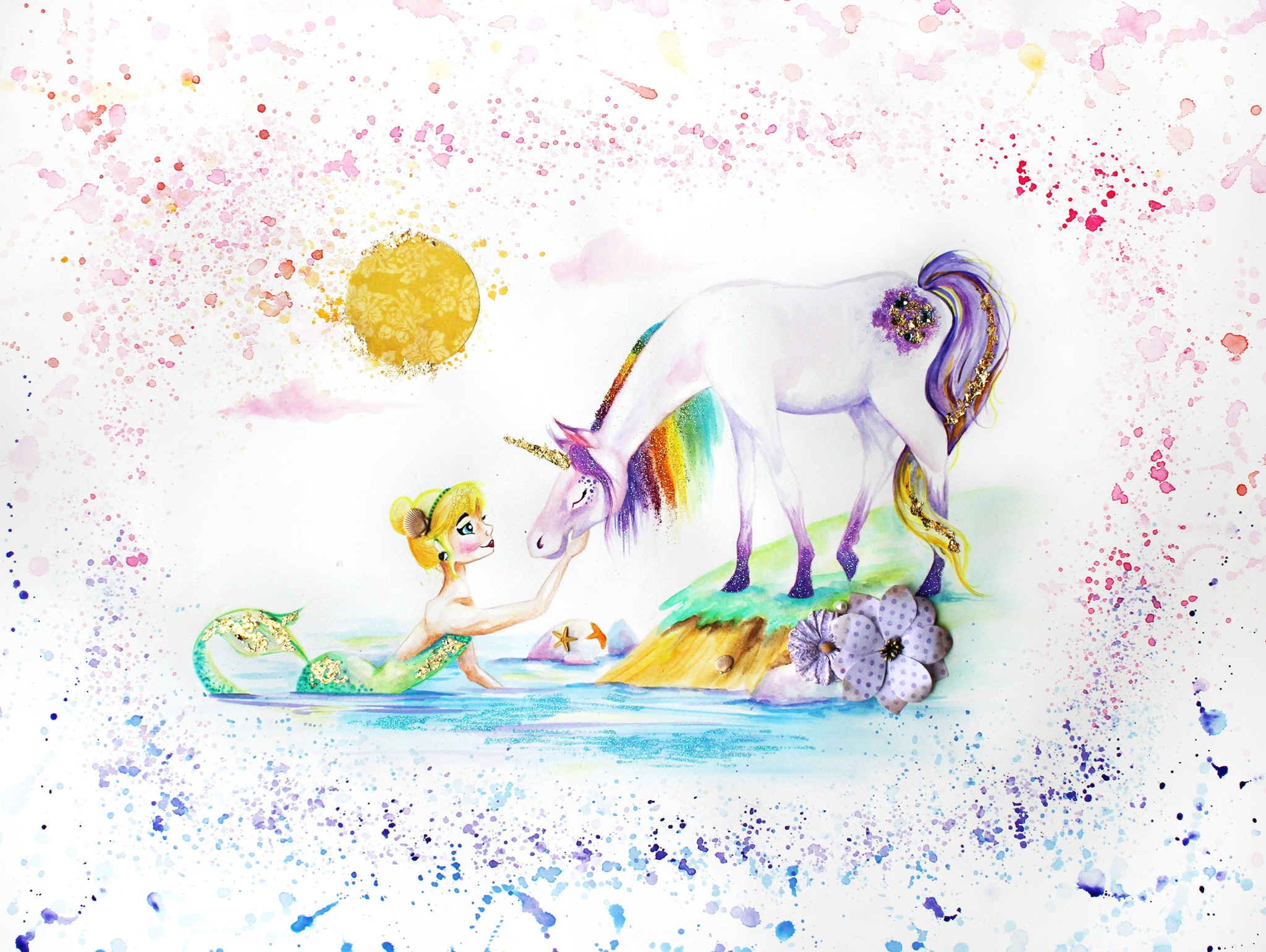 Watercolor painting of a unicorn and mermaid, Mermaid painting for little girl's room, colorful, mag