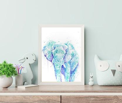 Whimsical watercolor painting of an elephant, TayloredIllustration custom nursery art painting of safari animals