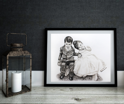 black and white framed portrait of two toddlers at a wedding
