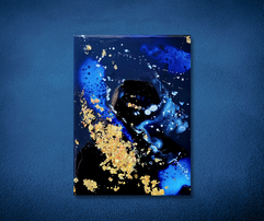 blue and black encaustic painting with gold leaf