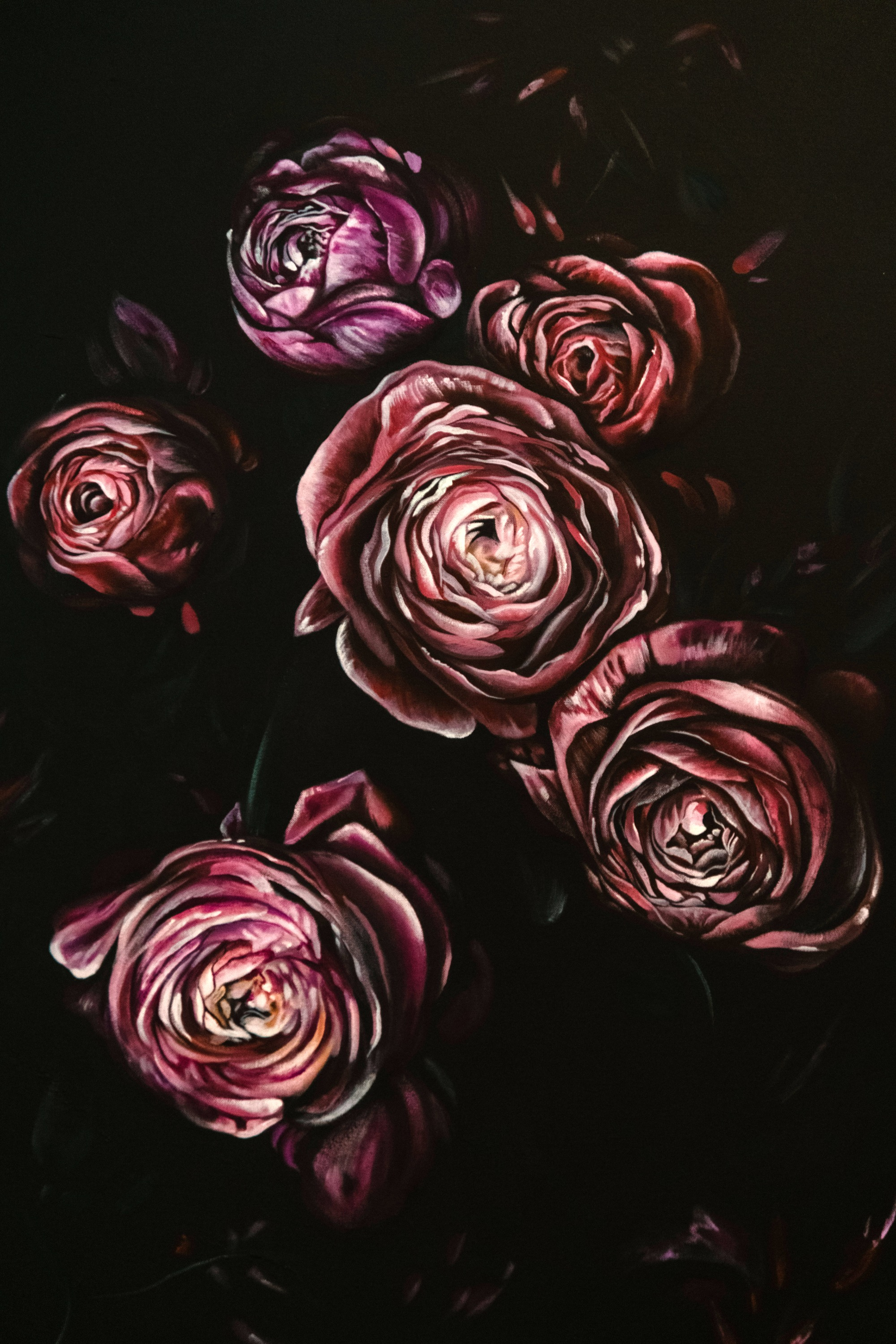 Moody Floral Acrylic Painting, Dramatic Flower Painting