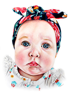 Indianapolis artist specializing in people portraits, detailed hand drawn portrait of an infant