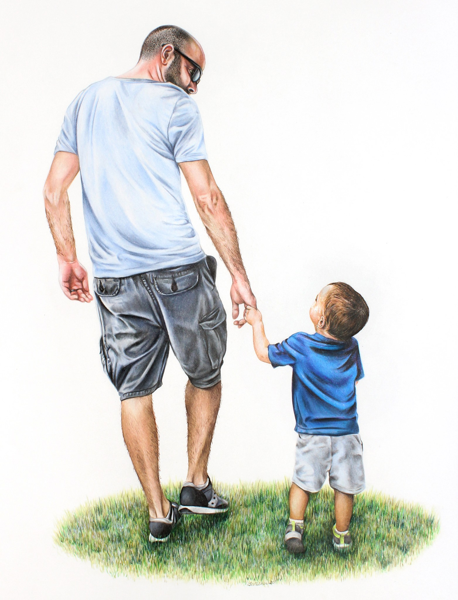Unique gifts for Father's Day, Personalized gift for dad, hand drawn colored pencil portrait of fath