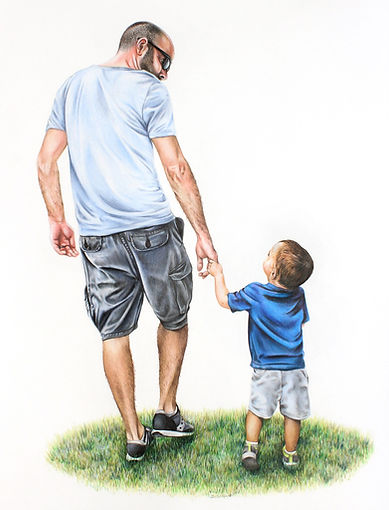 TayloredIllustration Colored Pencil Drawing of Father and son
