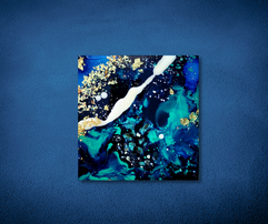 turquoise and blue encaustic by TayloredIllustration
