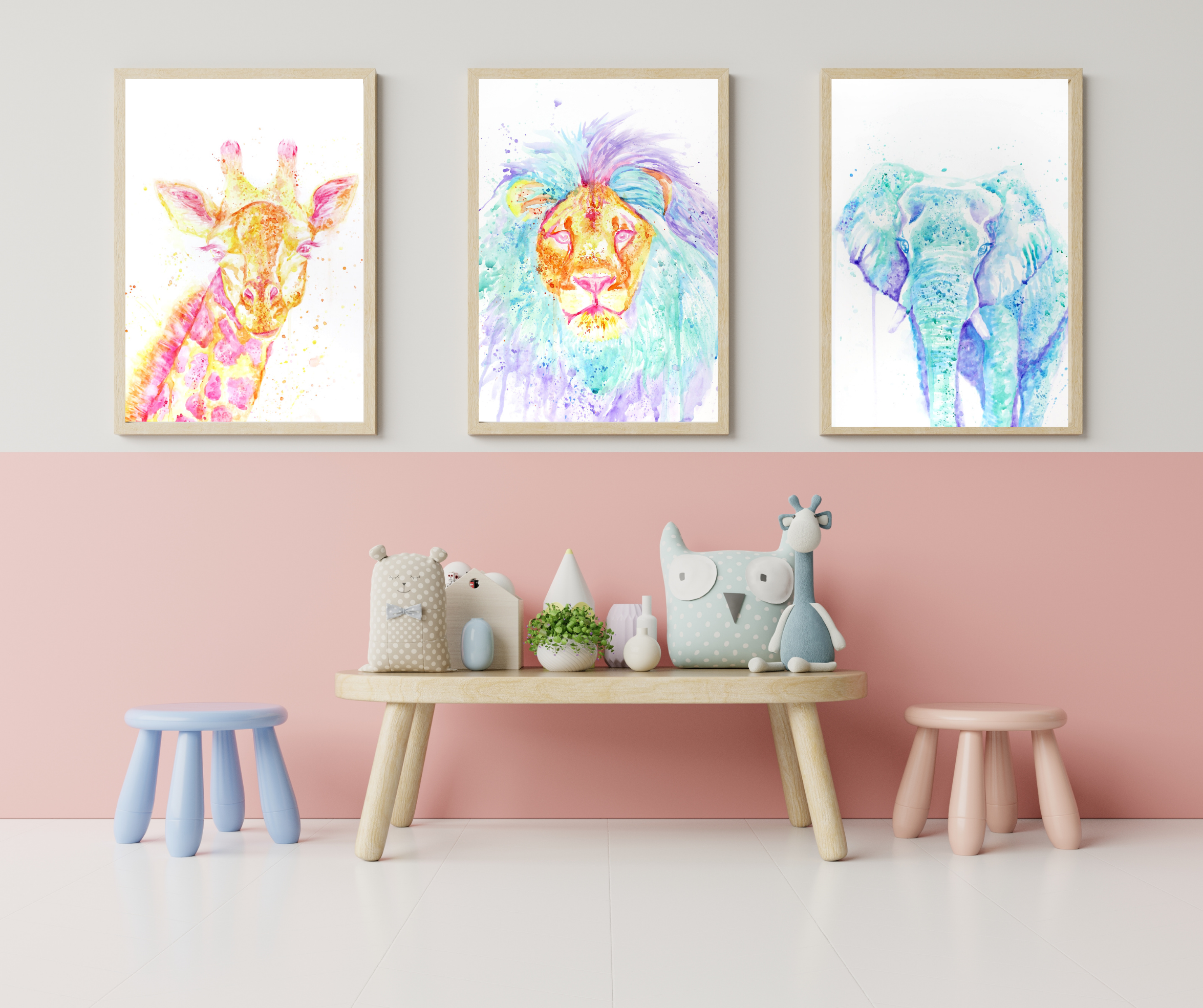 Nursery Art Triptych, TayloredIllustration Custom Nursery Art, Watercolor Safari animals