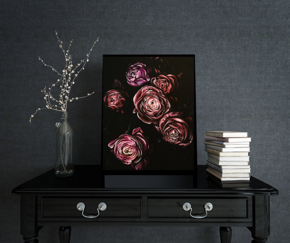 dramatic moody floral painting in black frame on table with vase and stack of books, TayloredIllustr