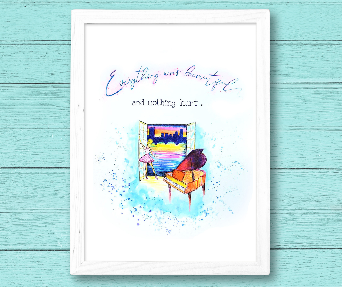 custom illustration to commemorate deceases sister, watercolor painting of a ballerina with a piano