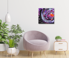 purple encaustic painting by TayloredIllustration in a cute living room