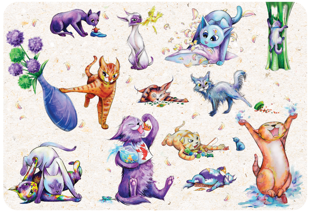 Digital illustration of cats