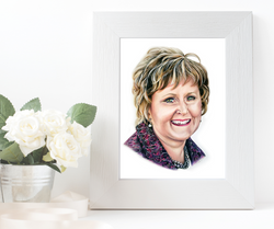 Colored Pencil Portrait of a woman in a beautiful white, wooden frame. TayloredIllustration Family P
