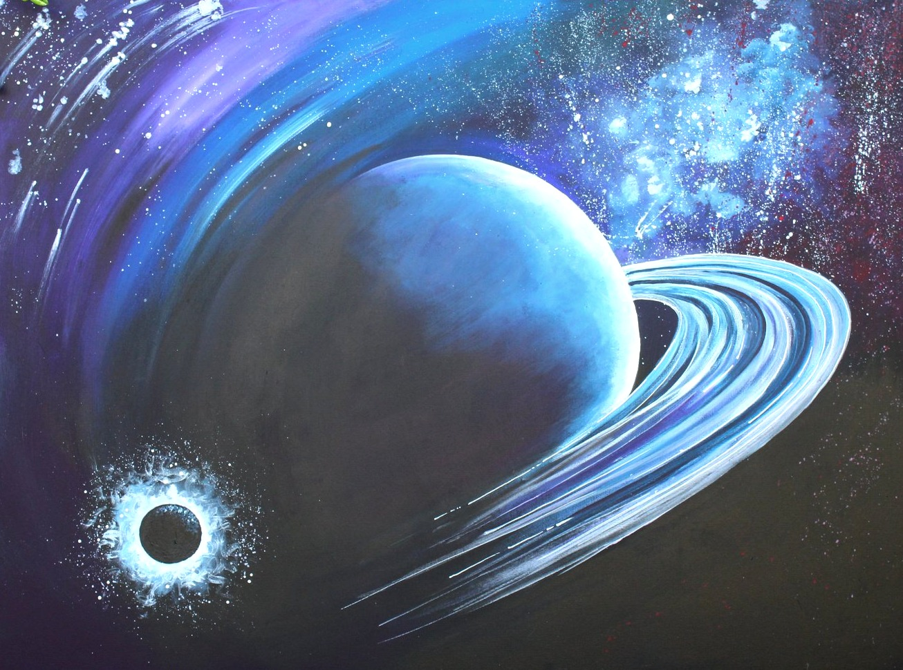 Acrylic Painting of Outer Space for a little boy's room, Painting of Space, Star & Moon Painting