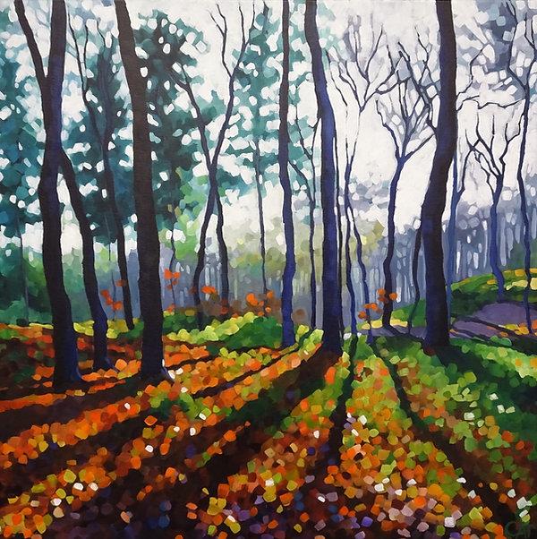 trees painting woodland autumn