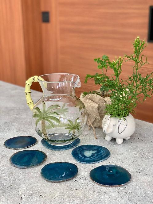 Porta-copos Ágata azul-água