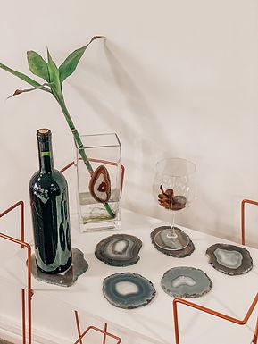 Porta-copos e porta-bebida em Ágata cinza