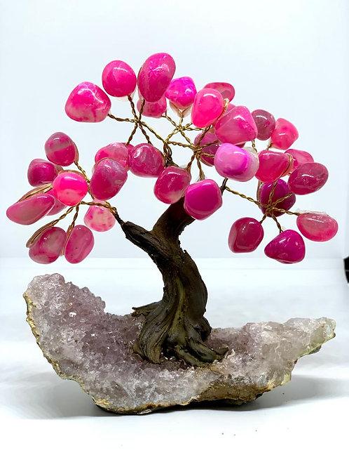 Árvore Ágata rosa 10cm