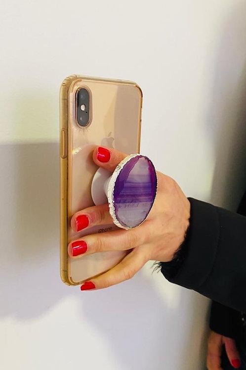 Pop Socket em Chapas de Pedras Ágata para Celular.
