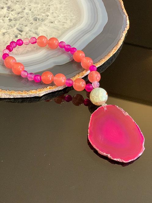 Japamala Ágata rosa e coral 27 contas