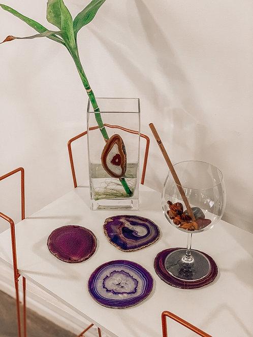 Porta-copos em Ágata roxa