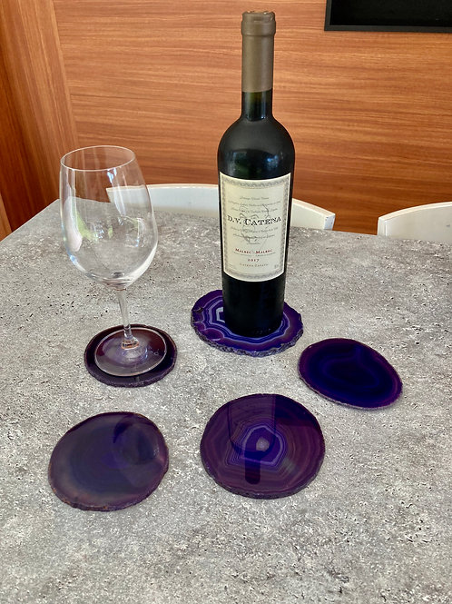 Conjunto Ágata roxa - porta-copos e porta-bebida