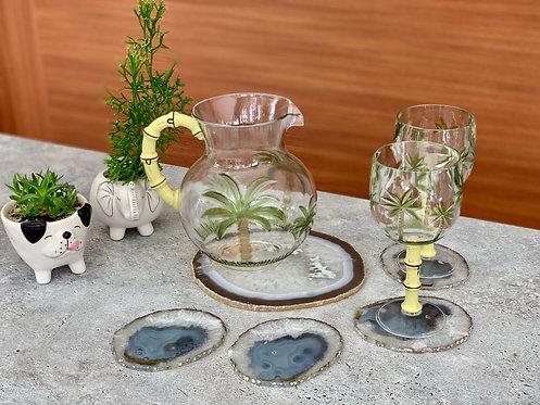 Porta-copos em Ágata cinza
