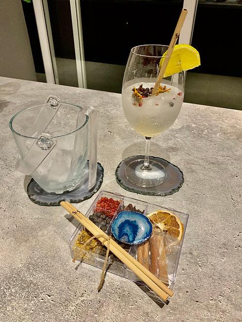 Kit gin Ágata azul e canudo bamboo