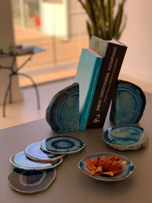 Porta-livro Ágata azul