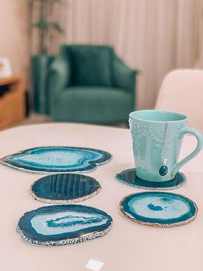 Porta-copos e porta-bebida Ágata azul