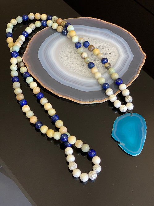 Japamala Howlita, Lapis Lazuli e Amazonita 108 contas