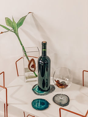 Porta-copos e porta-bebida Ágata verde
