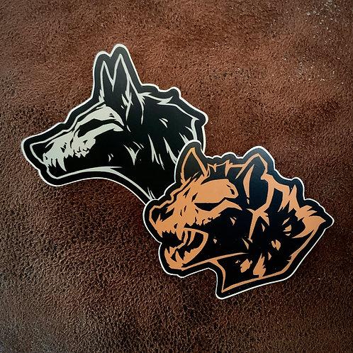 Wolf and Hyena Skull - vinyl stickers