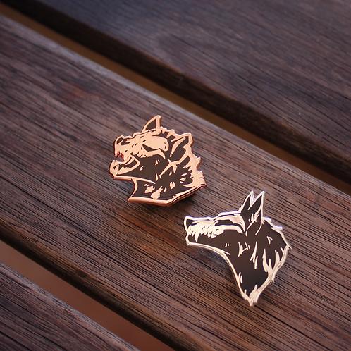 Wolf and Hyena Skull - BUNDLE (2 pins)