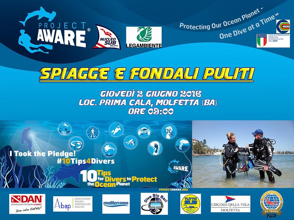 Project Aware Molfetta PADI Spiagge e Fondali Puliti 2016