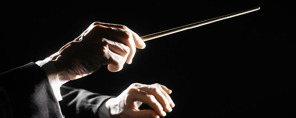 Orchestra conductor hands baton. Music d