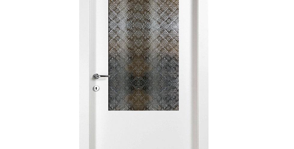 דלת פנים למינטו עם צוהר יפני ללא חלוקה+זיגוג חלבי