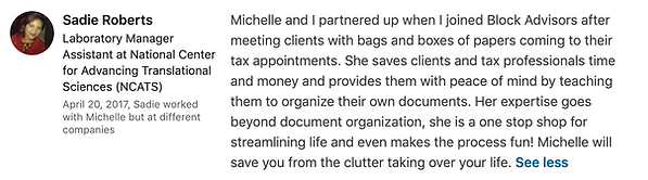 Sadie Roberts' LinkedIn Testimonial on 4