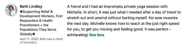 Beth Lindley's LinkedIn Testimonial on 4