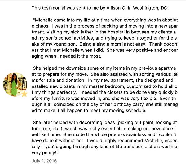 Allison Gersch's Facebook Testimonial on