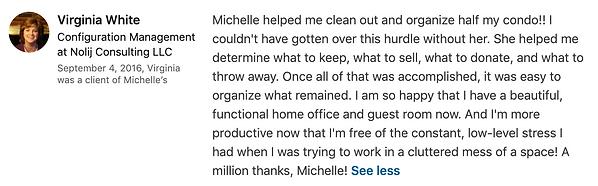 Virginia White's LinkedIn Testimonial on