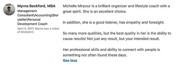 Myrna Beckford's LinkedIn Testimonial on