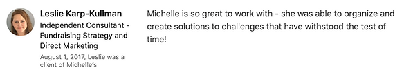 Leslie Karp-Kullman's LinkedIn Testimoni