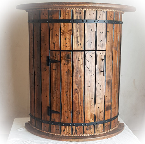 Single Door Whiskey Barrel Cabinet Table This Stands 35 High 24 In Diameter At Middle