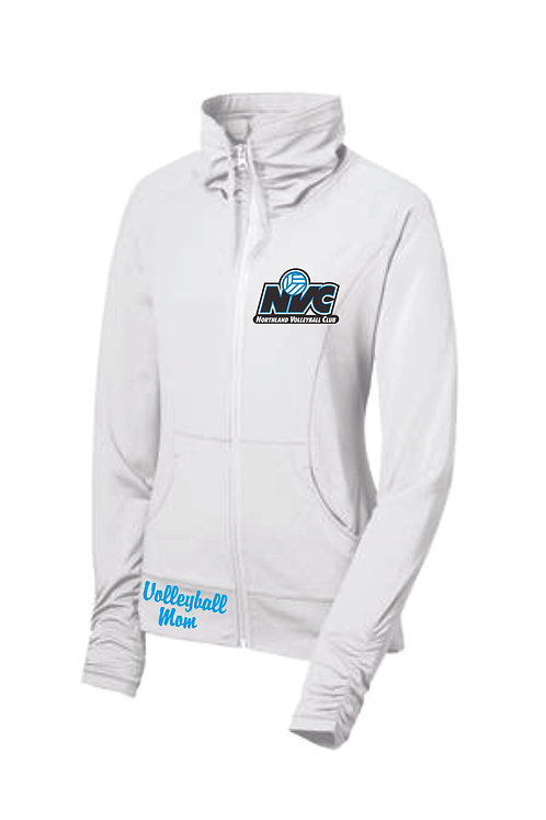 Ladies White Volleyball Mom Jacket