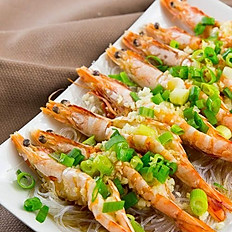 Steamed King Prawns with Vermicelli and Roasted Garlic